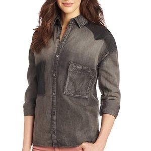Ombré High Low Distressed Grey Jean Shirt